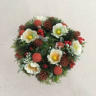 Vintage Christmas Candle Wreath Decor Floral Holiday Centerpiece