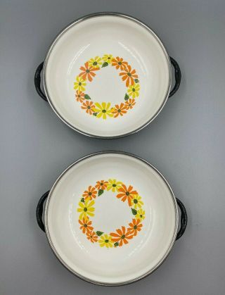 """2 - Ekco Country Garden Vintage Porcelain Clad 6 1/2 """" Pan Italy Finest Quality"""