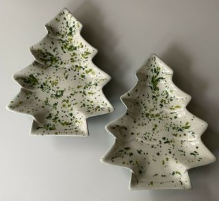 Set Of 2 Vintage Ceramic Speckled Christmas Tree Candy Dish Handmade White Green