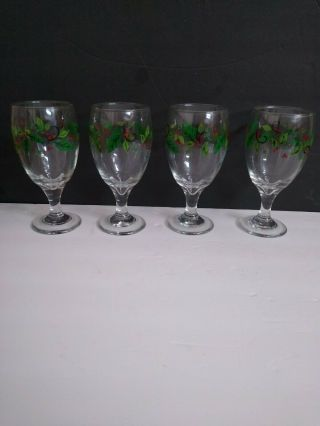 4 Libbey Holly Leaf & Berry Berries Christmas Glasses Iced Tea,  Water,  Vtg 70s