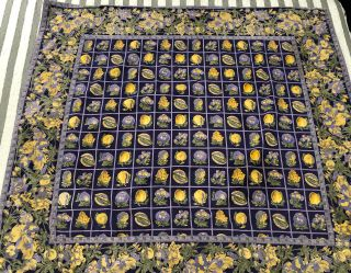 """Vtg April Cornell Purple Yellow Fruits Tablecoth 49"""" X45"""" """"faded Color"""""""