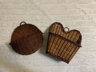 Two (2) Hanging Wicker Baskets Wall Hangers Home Decor Vintage Style Baskets