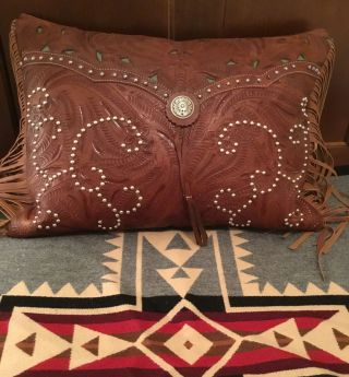 Vintage American West Hand Tooled Leather Pillow Western Rustic Ranch Decor