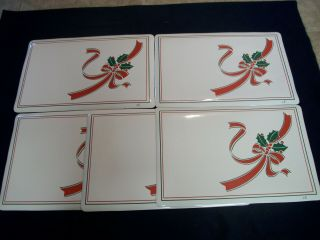 Vintage Set Of 5 Vinyl Rubber Backed Placemats Christmas Holly Ribbon