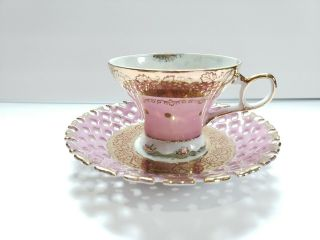 Vintage Lm Royal Halsey Very Fine Tea Cup And Saucer Reticulated Both Gold Trim