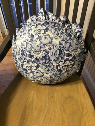 """Vtg Laura Ashley Palace Garden Pillow Blue White Floral Chintz Country Round 16"""""""