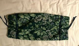 Laura Ashley Bramble Neck Roll Pillow Cover Only Green Blue Vintage 90s