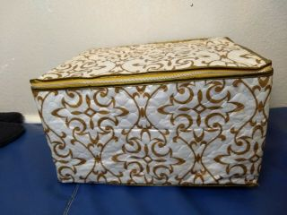 Quilted Storage Chest Case For Stemware Wine Glasses Vintage