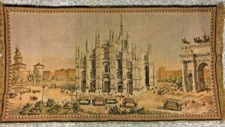 Large Vintage Woven Tapestry Duomo Of Milan Arches And Steeples Of Italy