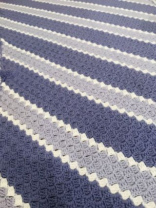 """Amazingly Gorgeous Handmade Soft Lavenders And White Vintage Afghan 72""""x48"""""""