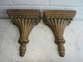 Vintage Pair French Rococo Style Wall Shelf Sconces Classical Display