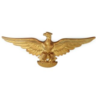 """Vintage Eagle Ceramic Wall Plaque Gold Painted 21 """" Wing Span"""