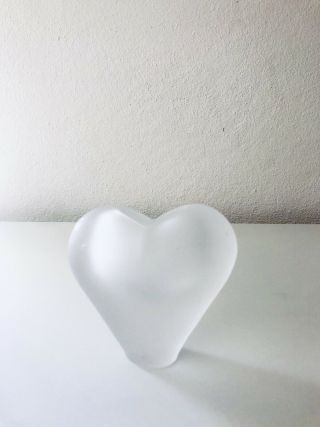 Heavy Vintage Frosted Lead Crystal Heart Shaped Vase Made In Brazil Euc