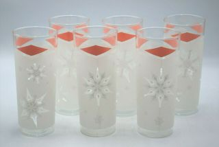 6 Vintage Anchor Hocking Pink Diamond Frosted Atomic Snowflake Highball Glasses