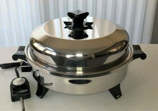 """Health Craft K7273 12"""" Oil - Core Electric Skillet W/dome Lid - Made In Usa - Euc"""