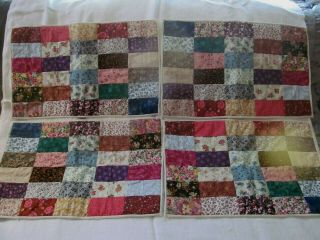4 Handmade Patchwork Tie Quilted Placemats Floral Vintage Large 12 X 19 Calico