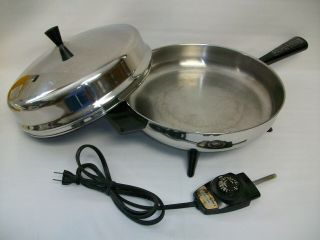"""Farberware 12 """" Electric Fry Pan 310 - B Stainless Steel W/ Dome Lid & Heat Control"""
