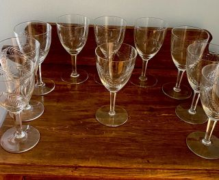 Vintage Crystal Wine Glasses Etched With Leaves.  Set Of 9
