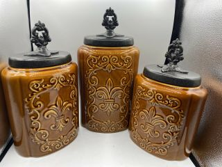 """American Atelier Canisters Brown Antique Embossed """" Fleur De Lis """" French Country"""