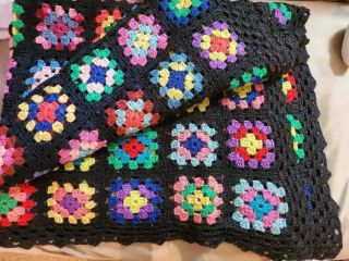 Vintage Crocheted Afghan Blanket Throw Granny Square 56x75