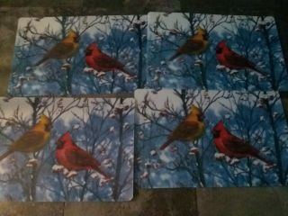 Vintage Placemats Set Of 4 Laminated Winter Cardinal Birds Vinyl Placements