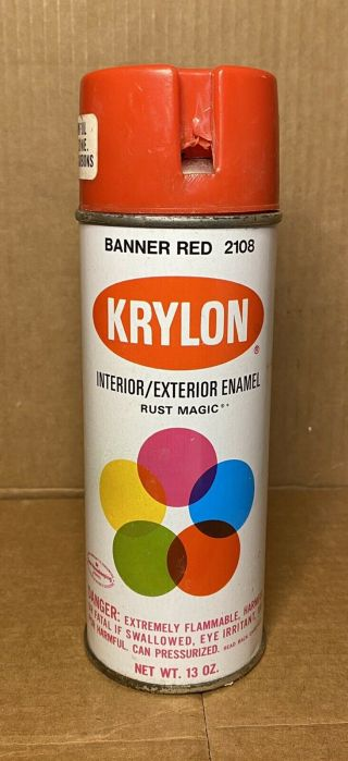 Vintage Krylon 2108 Banner Red Spray Paint Can