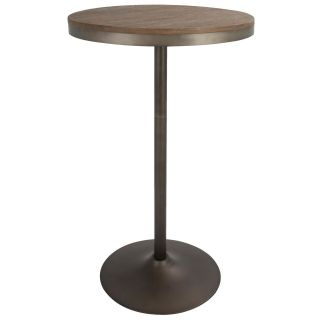 Open Box Dakota Industrial Adjustable Bar / Dinette Table In Antique And Brown