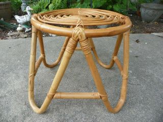 Vintage Boho Bamboo Bentwood Rattan Ottoman Foot Stool Round,  Frankl Style