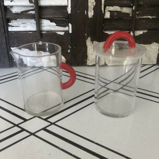 Vintage 1950 Art Deco Clear Lucite Plastic With Red Handles Sugar & Creamer Set