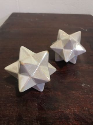 Pair Vtg Decorative Iridescent Ceramic Geometric Stellated Dodecahedron Stars
