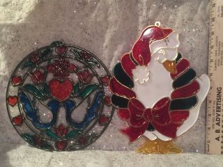 2 Vintage Plastic Stained Window Sun Catcher Giftco Inc.  Christmas Goose