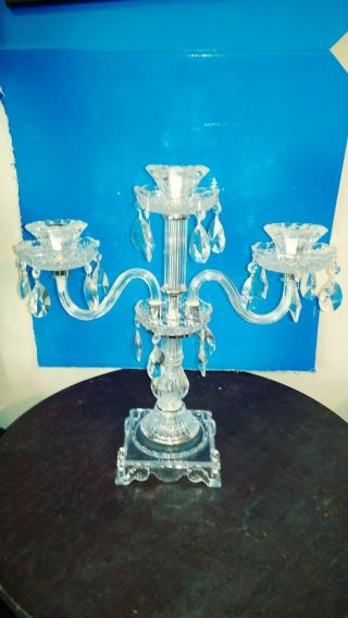 """Gorgeous Crystal Candelabra 3 Light W/prisms Center Piece 17 """" Tall Candle Holder"""