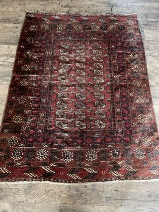 Large Antique Vintage Early Oriental Area Rug Multi Color