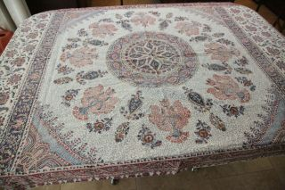 Flaw 50 X 72 Persian Ghalamkar Block Print Tablecloth Medallion Iran Vtg Cotton
