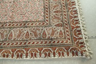 Flaw 51 X 76 Persian Ghalamkar Block Print Tablecloth Paisley Iran Vtg Cotton
