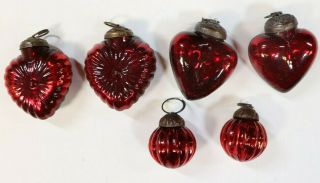Antique Red Mercury Glass Kugel Heart Christmas Ornaments