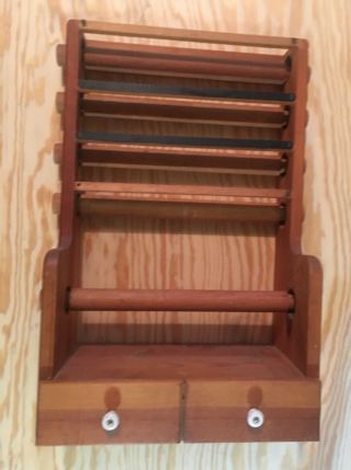 "Vtg Wood Wall Rack Stand 5 Dispense Dowels W/2blades &drawer 14""x21""x8"""