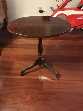 Vintage Bombay Company Tilt Top Oval Wood Accent Side Tea Table (chippendale)