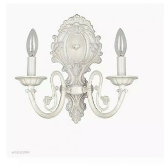 3 - Style Selections Wall Sconce Antique White Candle 11.  63in - 26966 - 014
