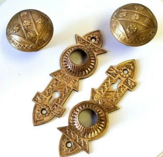 Antique Ornate Brass Door Knobs And Plates