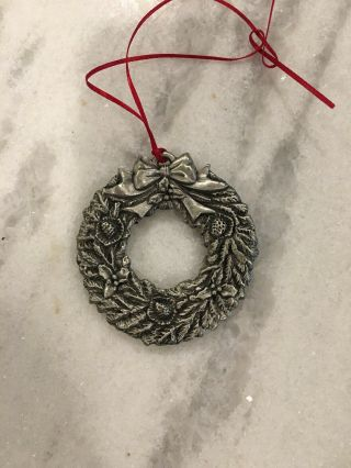 Vintage Miniature Pewter Christmas Wreath 3d Ornament Holiday