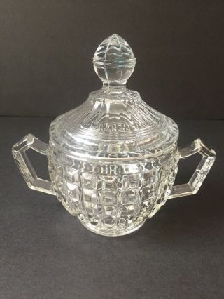 Vintage Pressed Clear Glass Sugar Bowl With Lid 2 Handles Raised Square Design