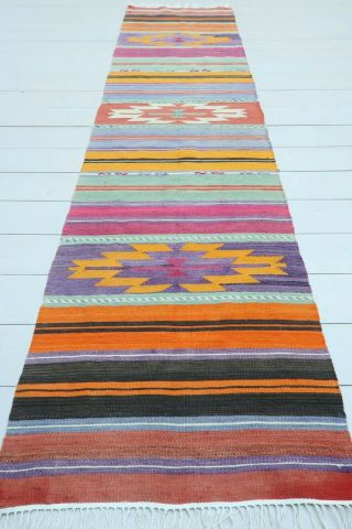 "Kitchen Runner,  Turkish Milet Kilim Narrow Runner,  Hallway Rug Aisle Rug 23 "" X95 """