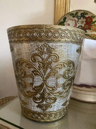 Vintage Cream Gold Florentine Italian Trash Can Antique Wastebasket Italy 2