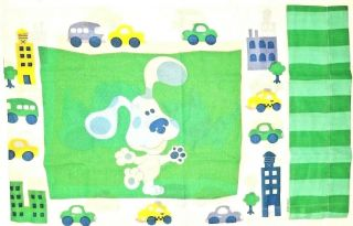 Vintage Blues Clues Puppy Dog Kitty Cat Cars Reversible Pillow Case