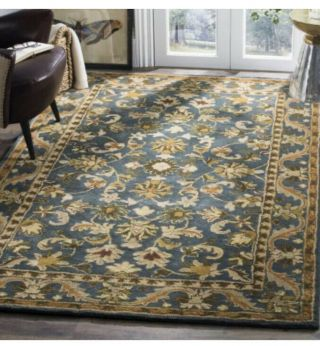 Hand - Tufted Antiquity Blue / Gold Wool Area Rug 5