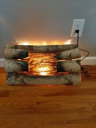 Vintage Electric Fireplace Wood Logs Motion Faux Fire Rotating Light Looks Great