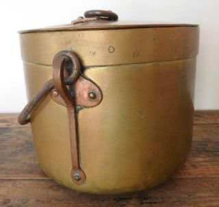 Auc2 Tall Antique Brass & Copper Saucepan Cooking Pot & Lid French 1800s