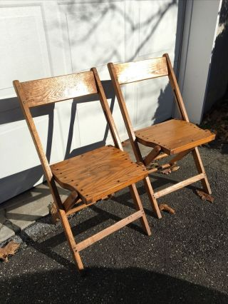 Vintage Wooden Slat Folding Chairs Snyder Chair Co.  -