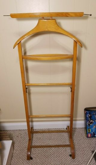 Vintage Wooden Stand Valet Hanger Butler Stand On Wheels Collapsible Italy